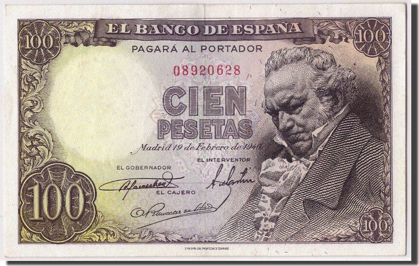 100 Pesetas 1946 Spanien KM:131a, 1946-02-19, SS+ SS+