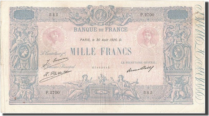 1000 Francs 1926 Frankreich VF(30-35)
