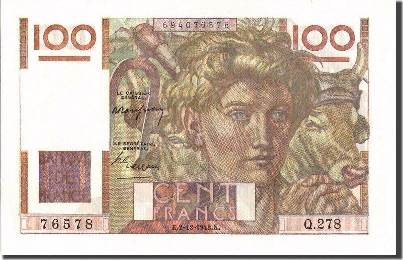 100 Francs 1948 Frankreich 100 F 1945-1954 ''Jeune Paysan'', KM:128b, 1948... VZ+