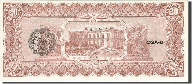 20 Pesos 1914 Mexico - Revolutionary 1914-02-10, KM:S536b, UNZ- UNZ-