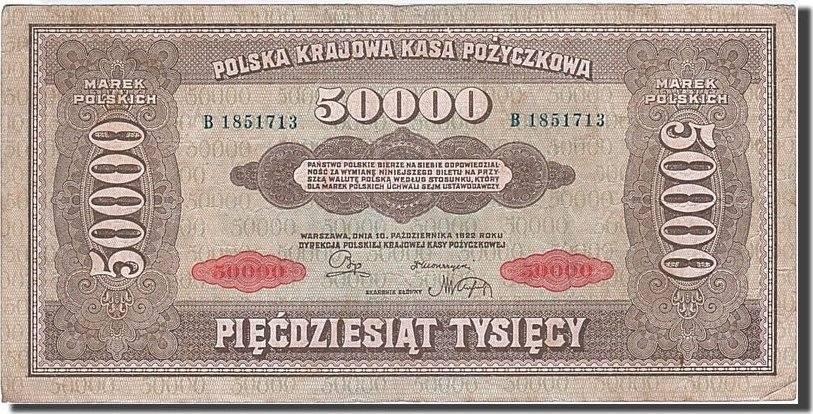 50,000 Marek 1922-1923 Polen EF(40-45)