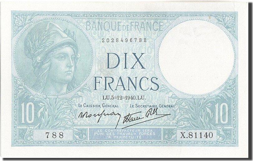 10 Francs 1940 Frankreich 10 F 1916-1942 ''Minerve'', KM:84, 1940-12-05, U... UNZ-