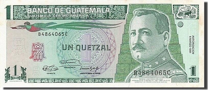 1 Quetzal 1989-1990 Guatemala AU(55-58)