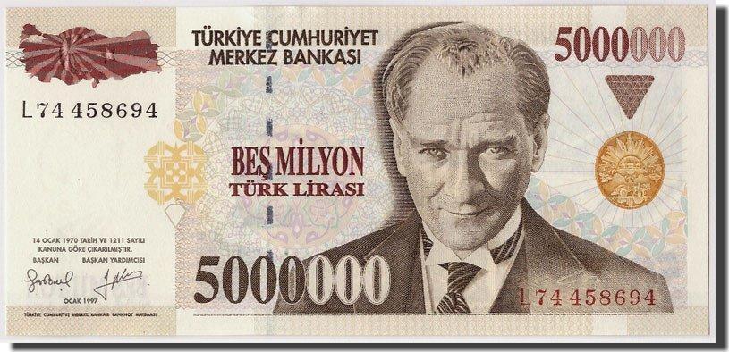 5,000,000 Lira 1997 Türkei Undated, KM:210 UNC(65-70)