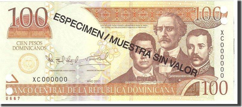 100 Pesos Dominicanos 2011 Dominican Republic KM:184s, Undated, UNZ UNZ