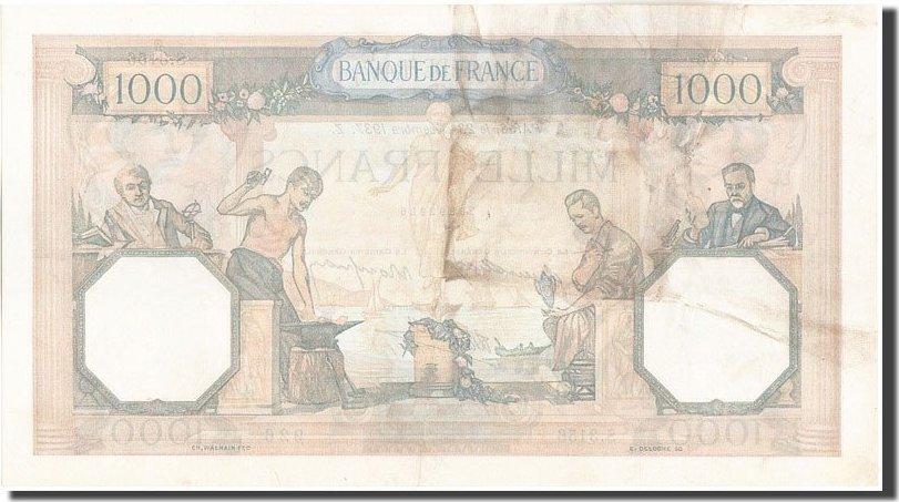 1000 Francs 1937 Frankreich 1 000 F 1927-1940 ''Cérès et Mercure'', KM:9... SS+