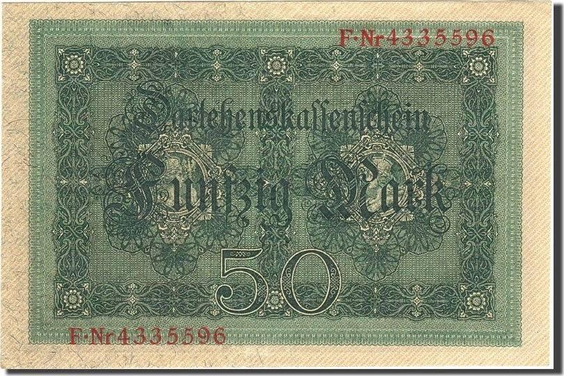 50 Mark 1914 Deutschland KM:49b, 1914-08-05, UNZ- UNZ-