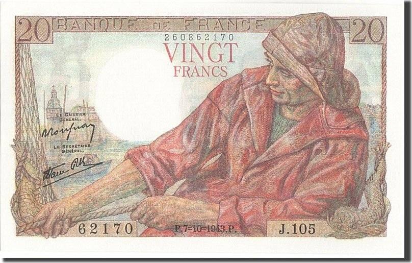 20 Francs 1943 Frankreich UNC(64)