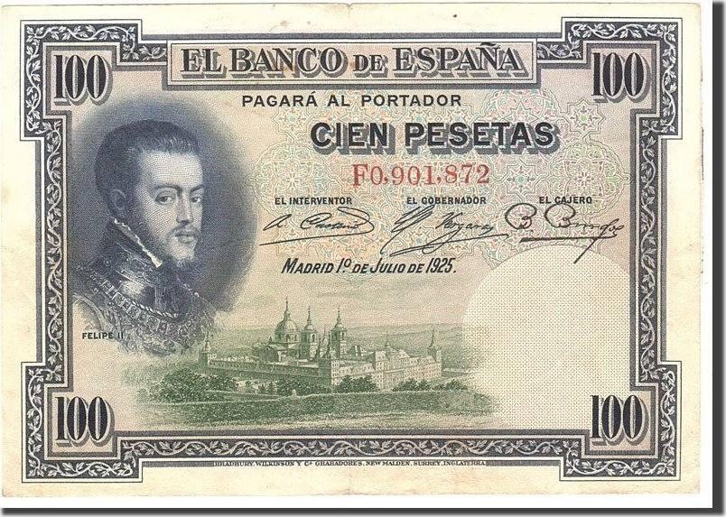 100 Pesetas 1925 Spanien KM:69c, 1925-07-01, SS SS