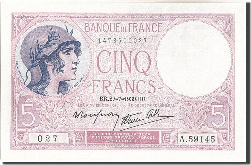 5 Francs 1939 Frankreich UNC(64)