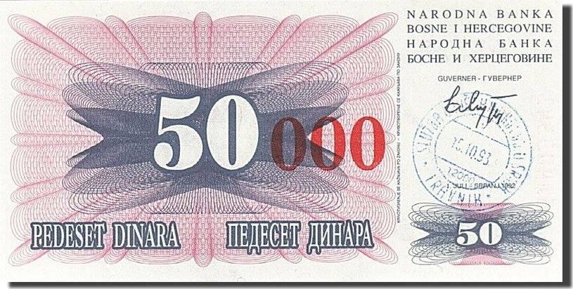 50,000 Dinara 1993 Bosnia - Herzegovina UNC(65-70)