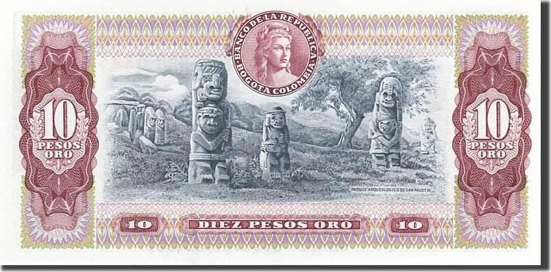 10 Pesos Oro 1961-1964 Kolumbien KM:407g, 1980-08-07, UNZ UNZ
