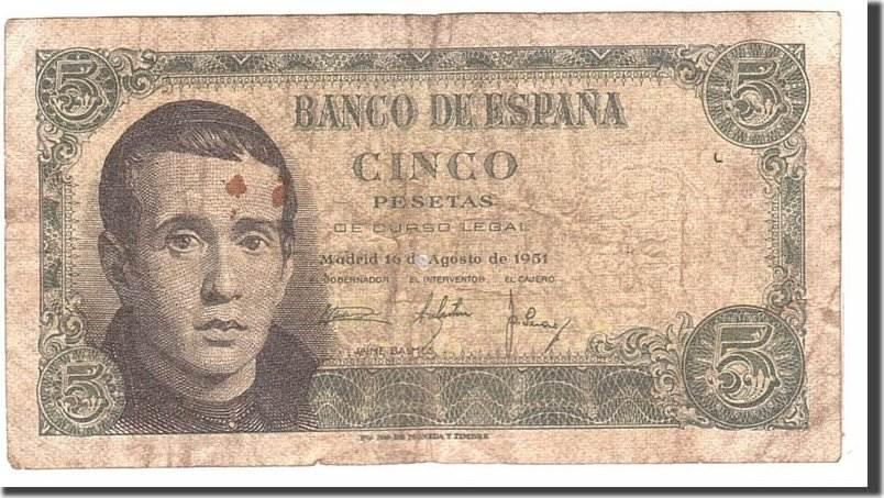 5 Pesetas 1951 Spanien VF(20-25)