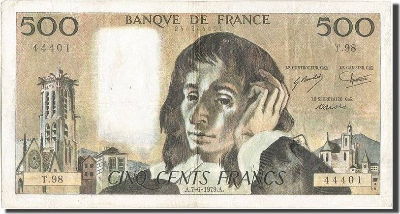 500 Francs 1979 Frankreich 500 F 1968-1993 ''Pascal'', KM:156e, 1979-06-07... S