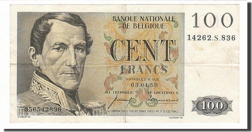 100 Francs 1952-1959 Belgien EF(40-45)