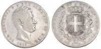 Italien Staaten 5 Lire ITALIAN STATES, Torino, KM #130.1, Silver, 37, 24.45