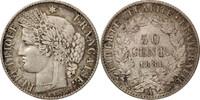 Frankreich 50 Centimes Cérès, Paris, SS+, Silber, KM:834.1