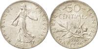 Frankreich 50 Centimes Semeuse, Paris, UNZ, Silber, KM:854, Gadoury:420