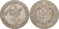 West African States 100 Francs S+, Nickel, KM:4