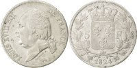 Frankreich 5 Francs FRANCE, Louis XVIII, Paris, KM #711.1, Silver,...