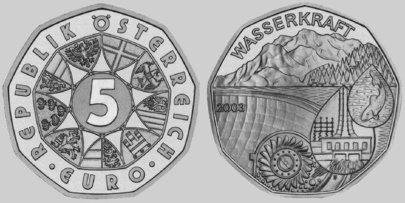 5 Euro 2003 österreich Wasserkraft St Ma Shops