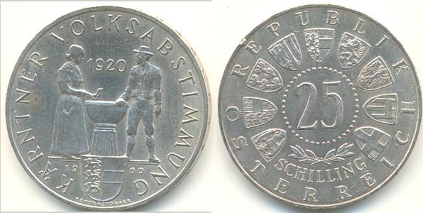 25 Schilling 1960 österreich Kärntner Volksabstimmung Vzst Ma Shops