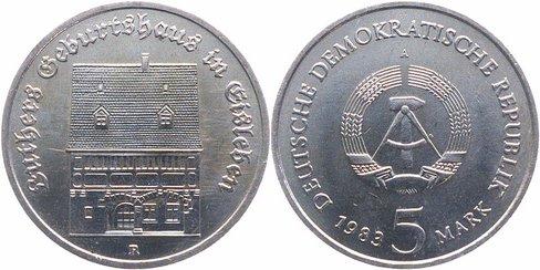 5 Mark 1983 DDR Luthers Geburtshaus stempelglanz/vorzüglich