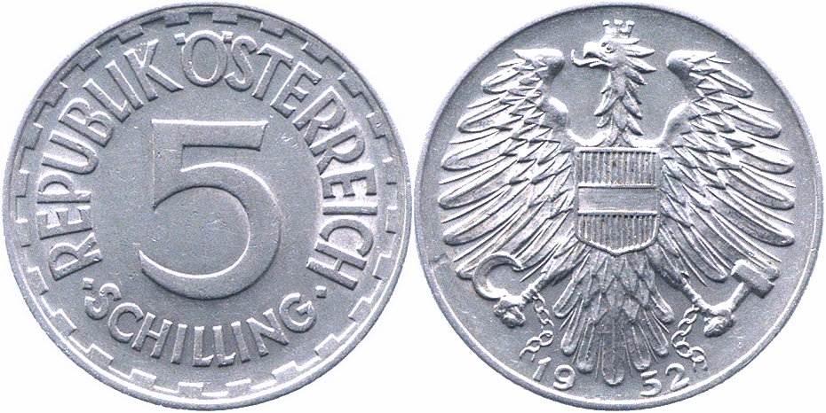 5 Schilling 1952 österreich 2republik Vorzüglich Ma Shops