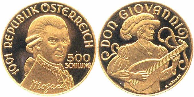 500 Schilling Gold 1991 österreich Mozart Don Giovanni Pp Proof Original