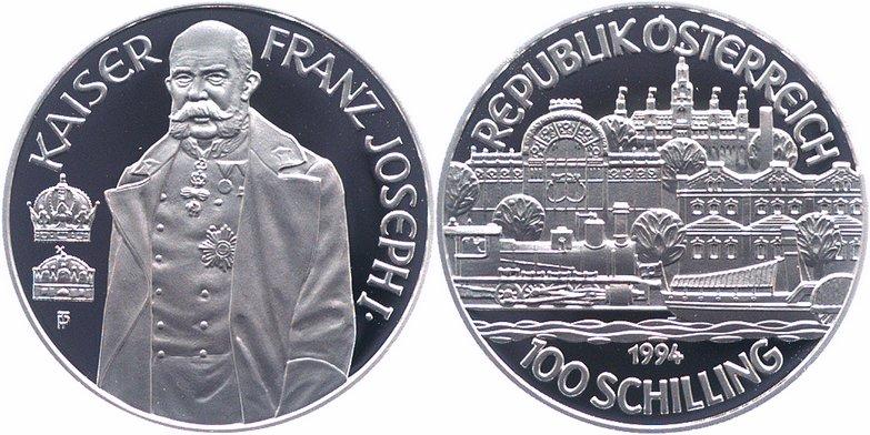 100 Schilling 1994 österreich Ikaiser Franz Joseph Ii Pp Proof
