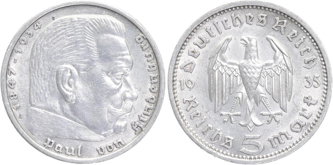 5 Reichsmark 1935 A Drittes Reich Hindenburg Ohne Hakenkreuz
