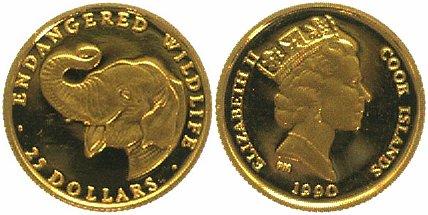 25 Dollars GOLD 1990 Cook Islands Indischer Elefant, 1/25 Unze 999 Feingold PP Proof-