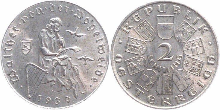 2 Schilling 1930 österreich Walther Von Der Vogelweide Gutes Vorzüglich Stempelglanz
