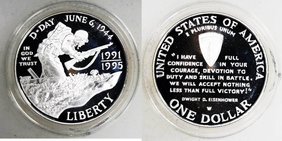 1 dollar silber 1995 usa d day pp proof leicht angelaufen in original m nzkapsel ma shops. Black Bedroom Furniture Sets. Home Design Ideas
