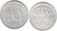 Schweden 10 Öre Silber Gustaf V. 1907-1950