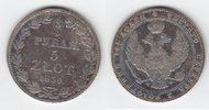 Polen 5 Zloty = 3/4 Rubel Nikolaus I. von Rußland 1825-1855