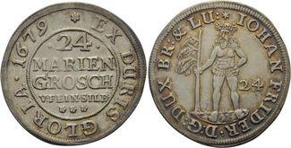 24 Mariengroschen 1679 Zeller  Johann Friedrich, 1665 - 1679 ss-vz, feine Patina