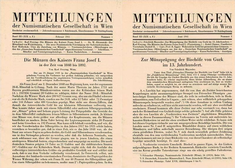 1941 Numismatische und Archäologische Zeitschriften MITTEILUNGEN d.NUMISMATISCHEN GESELLSCHAFT in WIEN lose Hefte