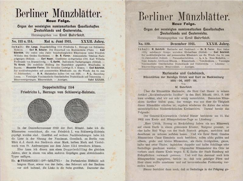 1911 Numismatische und Archäologische Zeitschriften BERLINER MÜNZBLÄTTER br