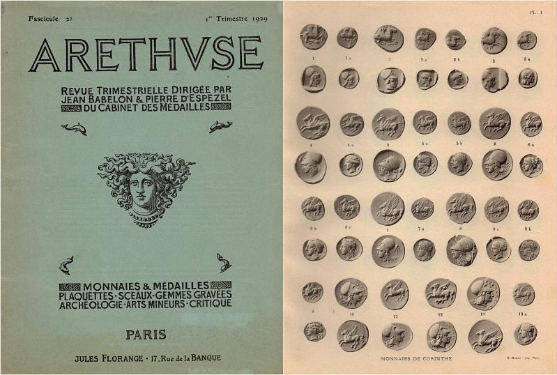 1929 Numismatische und Archäologische Zeitschriften ARETHUSE br