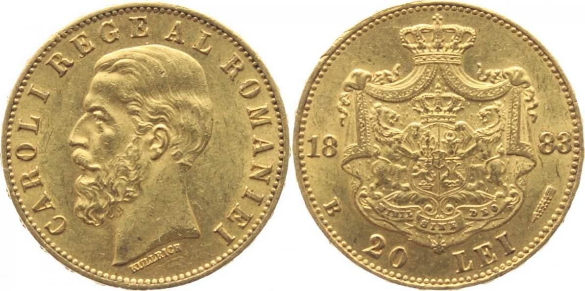20 Lei - GOLD- 1883 Rumänien Carol I. 1866-1914, bis 1881 Prinz, König seit 1881. f. vorzüglich