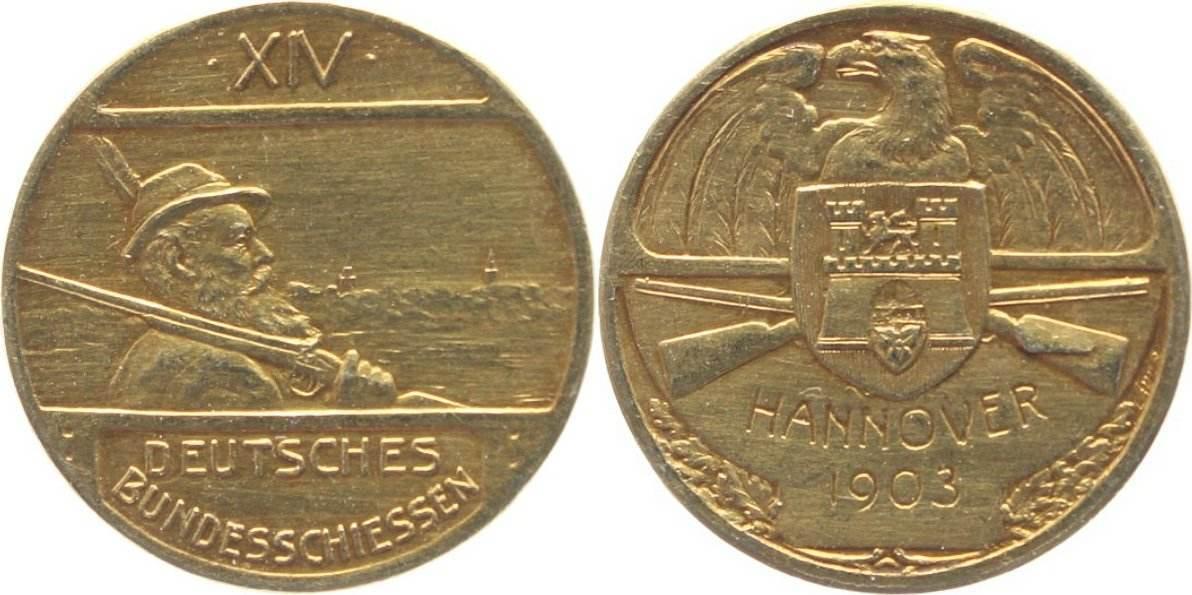 GOLD-Medaille 1903 Deutsche Bundesschiessen Deutsches Bundesschiessen Hannover 1903 (14.). winz. Rf., vorzüglich