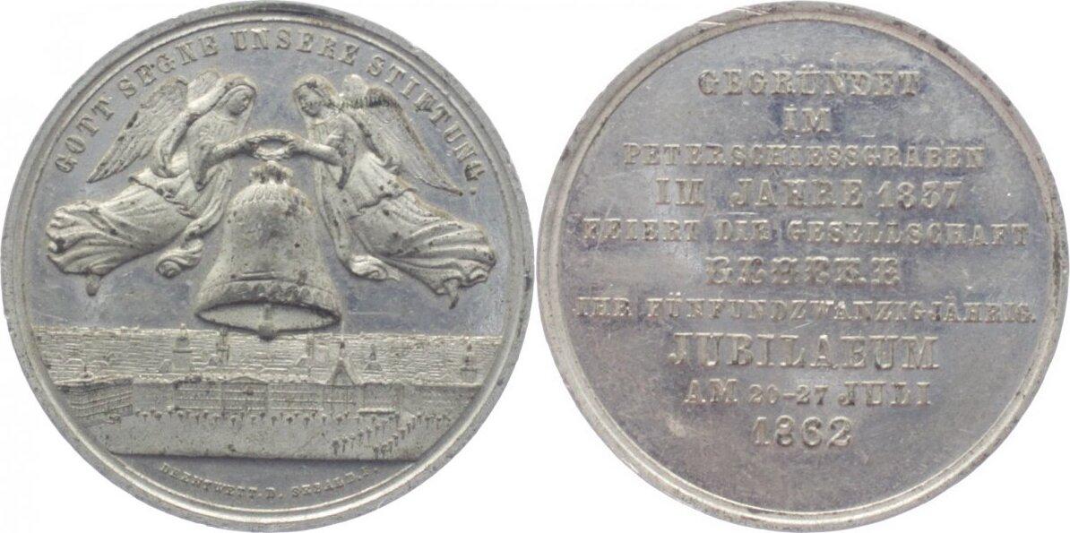 Zinn-Medaille (von Sebald bei Drentwett, Augsburg) 1862 Sachsen-Leipzig, Stadt vorzüglich