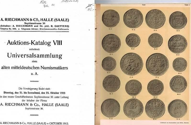 Auktion 1913 Auktionskataloge und Lagerlisten Riechmann, A. (Halle/S.): br