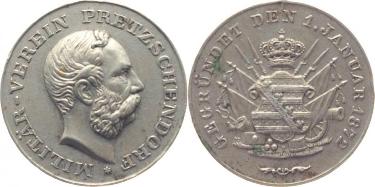 Medaille 1873-1902 Sachsen-Albertinische Linie Albert 1873-1902. entf. Öse, sehr schön +