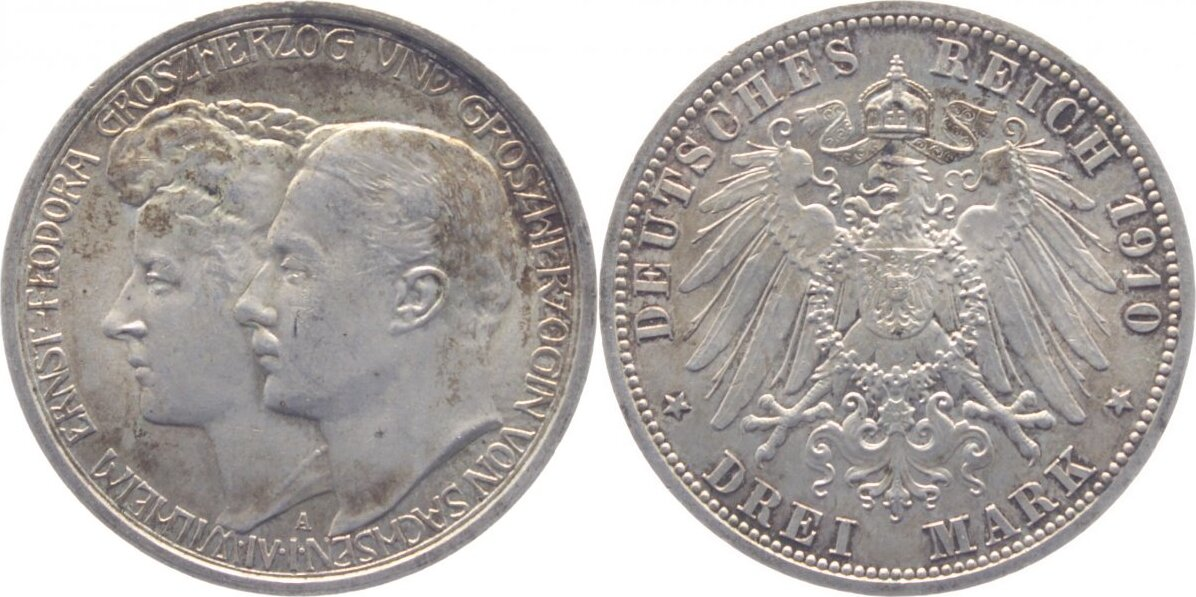 3 Mark 1910 A Sachsen-Weimar-Eisenach Wilhelm Ernst 1901-1918. vorzüglich +
