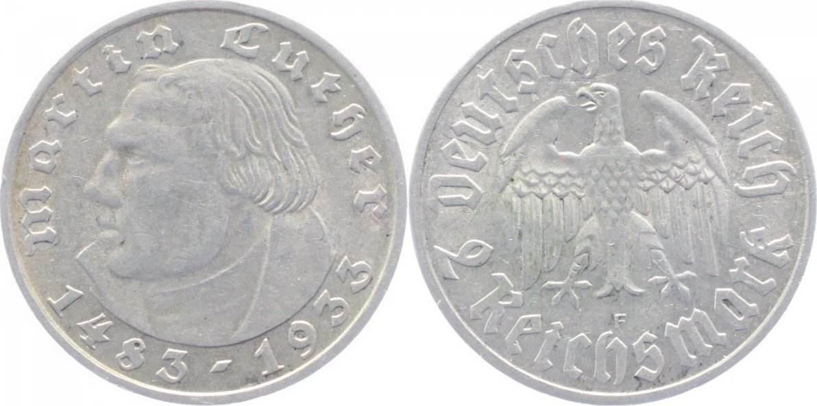 2 Mark 1933 F Drittes Reich sehr schön-vorzüglich