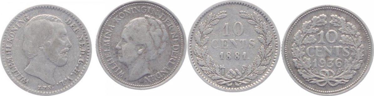 10 Cent 1881 Niederlande-Königreich Willem III., 1849-1890. f. sehr schön