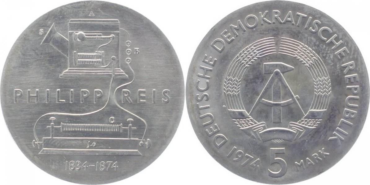 5 Mark 1974 Deutsche Demokratische Republik Stempelglanz