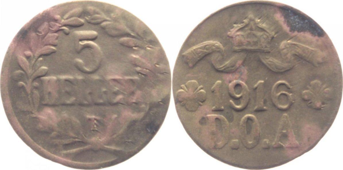 5 Heller (Messing) 1916 T Deutsch Ostafrika kl. Korr.-Fleck am Rd., ss